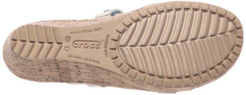 Crocs A-Leigh Mini Wedge Leather, Sandales femme Beige (Stucco/Stucco)