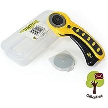 OfficeTree® Cúter de cuchilla circular, cortadora de tela - Corte tejidos y papel fácilmente de forma exacta - Mango ergonómico antideslizamiento con botón de bloqueo - 3 cuchillas - Ø 45mm