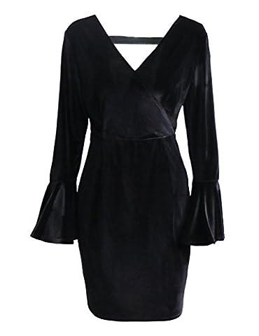 SunIfSnow - Robe spécial grossesse - Peplum - Uni - Manches Longues - Femme noir noir XXL