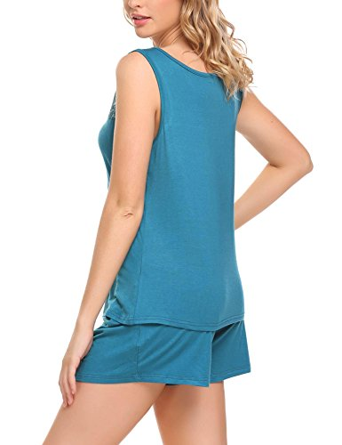 HOTOUCH Damen Schlafanzug Hausanzug Ärmellos Tops mit elastischen Taille Hosen Pyjamas Sets Pfau blau