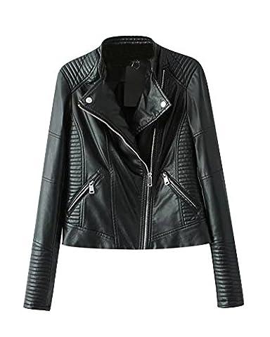Femme Vestes Blouson Biker Simili Cuir Casual Motard Court Zipper Manteau Noir S
