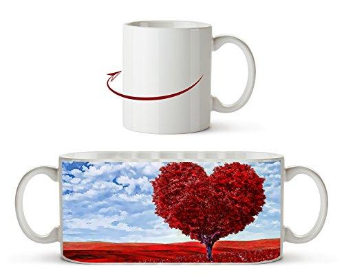 Romantischer Baum in Herzform Effekt: Zeichnung als Motivetasse 300ml, aus Keramik weiß, wunderbar...
