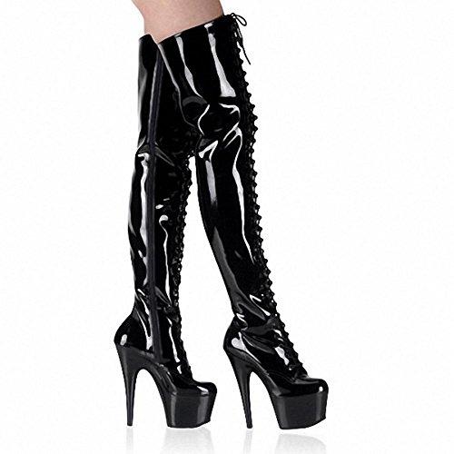 Scarpe Dance black Allacciatura Donne Stivali Alto Modello Sopra Discoteca Di Pole Di Lungo Ginocchio Al Pelle Tacchi Super ZZpqwnTga