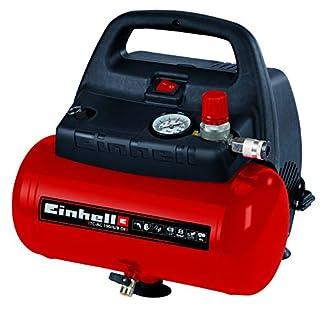 Einhell TH-AC 190/6 OF – Compresor de aire, 8 bar, depósito 6 l, aspiración 185 l /min, 1100 W, 230 V, color rojo y negro