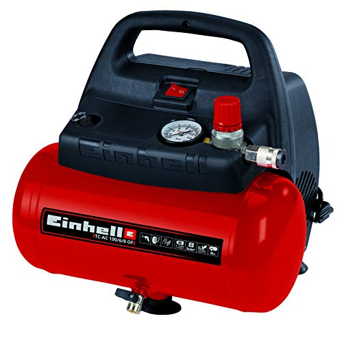 Einhell TH-AC 190/6 OF - Compresor de aire, 8 bar, depósito 6 l, aspiración...