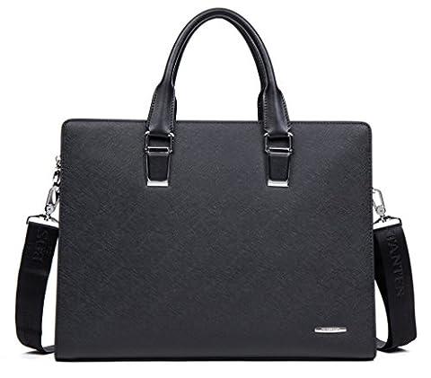 BOSTANTEN Leather Briefcase Shoulder Laptop Work Bags for Men Fits 14 Inch Black