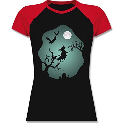 Halloween - Hexe Mond Grusel Grün - XXL - Schwarz/Rot - L195 - zweifarbiges Baseballshirt / Raglan T-Shirt für Damen
