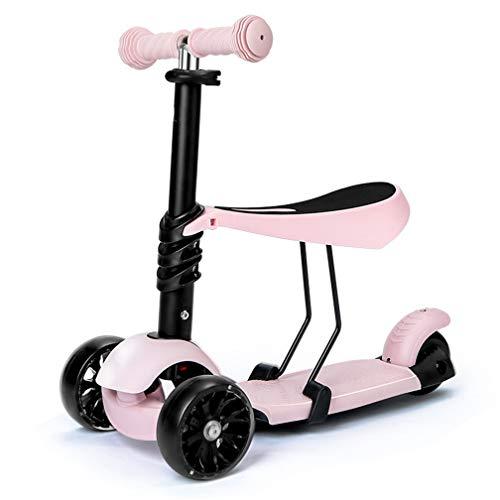 f-Roller mit abnehmbarem Sitz, extra breites Deck, PU-Flash-LED-Light-Up-Wheels-Auto, ideal für Kleinkinder von 2 bis 14 Jahren,Pink ()