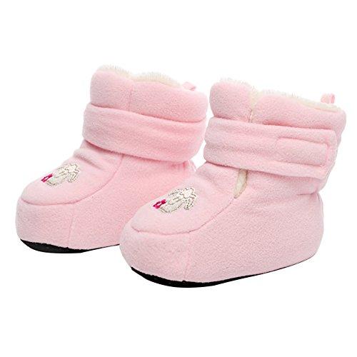 Kidsland Kleinkind Fleece Boot Hausschuhe Socken Baby Jungen Mädchen Rutschfeste Booties Infant Weiche Sohle Erste Wanderer Krippe Schuhe (Fußlänge 12cm, Rosa)