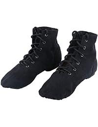 Zapatos Entrenamiento Baile Mujer Zapatillas Planas Bailar Jazz Niños Zapatos Cordones Colores Sólidos Tallas 26-45 Negro Blanco Rojo