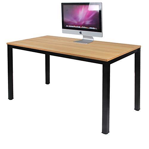 Need Schreibtisch Computertisch 120x60cm PC Tisch Bürotisch Arbeitstisch Esstisch für Home Office, Teak & Schwarz, AC3BB