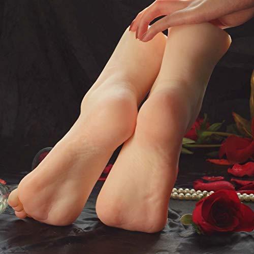 Mannequin Foot Simuliertes Fußmodell Silicon Life Size, Shooting Requisiten Damenständer Damen Sandalen Schuhe Socken Kurze Strümpfe Knöchelketten, Kunstskizzenfußfetische für Männer