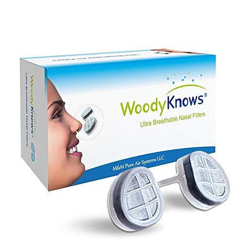 WoodyKnows ultra atmungsaktiv Nasenfilter für Heuschnupfen, Pollen & Staub Allergien, Tierhaare und Hautschuppen Allergie, allergisches Asthma, Sinusitis -