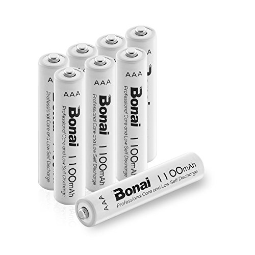 BONAI Pilas Recargables AAA Alta Capacidad 1100mAh (Precargadas, Baja autodescarga, 1200 Ciclos, 1.2V, Ni-MH) 8 Piezas