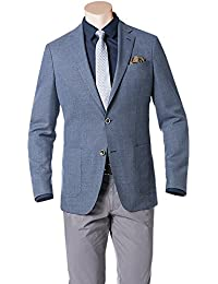 RENÉ LEZARD Herren Sakko Schurwolle Anzugjacke Meliert, Größe: 50, Farbe: Blau
