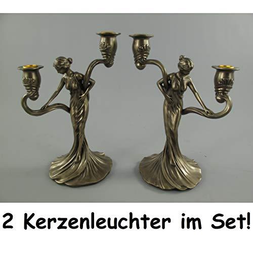 Gr 2er Set Kerzenleuchter Frau Jugendstil bronzefarben 2-flammig Kerzenständer Kerzenhalter