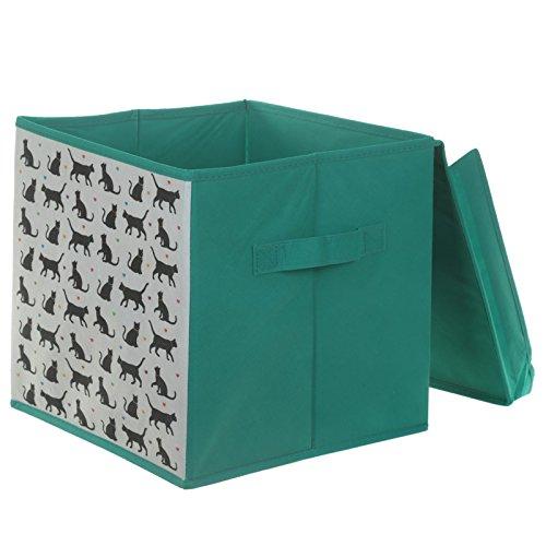 kids-stampato-pieghevole-storage-box-unicorno-zoo-dinosaur-green-cat