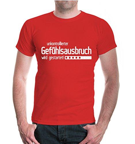 buXsbaum® T-Shirt unkontrollierbarer Gefühlsausbruch wird gestartet Red-White
