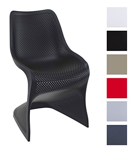 CLP Outdoor-Stuhl Bloom-XXL aus Kunststoff I Pflegeleichter Freischwinger für den Garten I In...