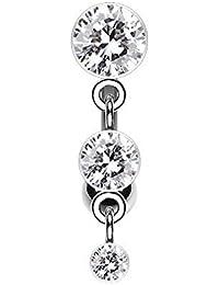 wildklass Triple cristalino de la joyería mujeres anillo de inversión