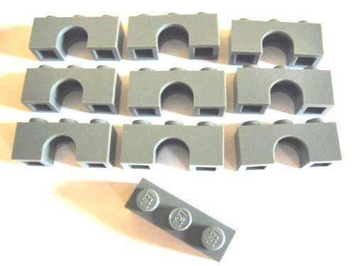 LEGO Castle - 10 Bogen mit 1x3 Noppen 4490 im neuen dunkelgrau - Bögen Rundbogen Brücken Steine (Pfeil Und Bogen Lego)