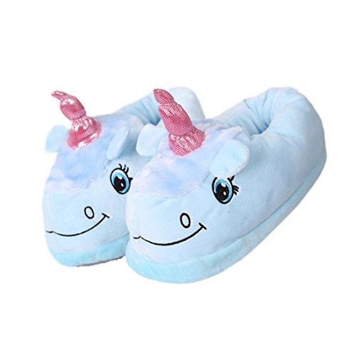 DarkCom Unisex Niedlichen Einhorn Hausschuhe-Erwachsene Warm Plüsch Cartoon-Haus-Schuhe 1 Paar Blau (Onesies Niedlichen Frauen)