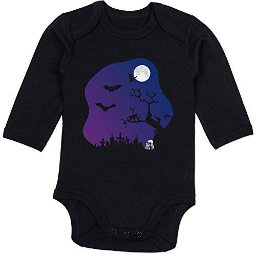Shirtracer Anlässe Baby - Friedhof gruselig Totenkopf Mond - 12-18 Monate - Schwarz - BZ30 - Baby Body Langarm (Lustige Halloween Grabsteine Namen)