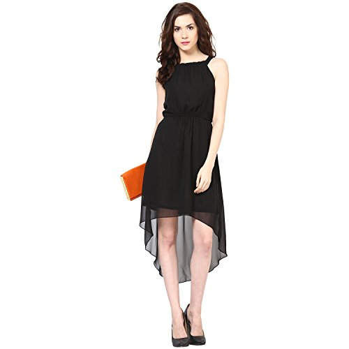 Harpa Women's Georgette Skater Dress (GR2810_Black_Medium)  available at amazon for Rs.500