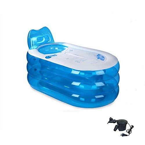 DMGF Faltbarer Aufblasbarer Badewannen-Erwachsen-Badekurort-Freies Stehendes Badewannen-Haus Mit Elektrischer Luftpumpen-Rückenlehne 130X70x70cm Blau