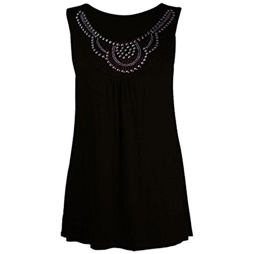 Neue Damen-Ohrstecker Perlen Detail Flared Damen Swing Lang Weste Top Plus Größe 14–28 Black - Womens Stud Detail Stretch Flared Top