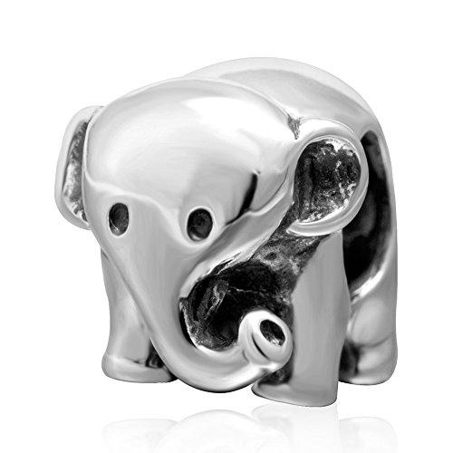 Abalorio de elefante de la suerte para el Día de la Madre, de plata de ley 925, para pulseras, regalos, joyas