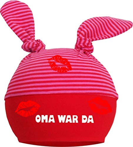 KLEINER FRATZ Baby 2-Zipfel Mütze (Farbe rot-fuchsia) (Gr. 1 (KU: 35-42) (Gr. 56-74) Oma war da