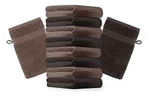 10er Pack Waschhandschuhe Waschlappen Premium Größe 16x21 cm Farbe Dunkel Braun & Nuss Braun Kordelaufhänger 100% Baumwolle
