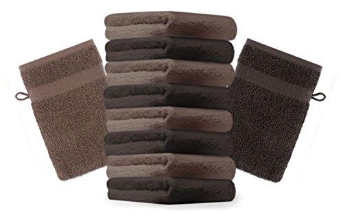 Betz lot de 10 gants de toilette taille 16x21 cm 100% coton Premium couleur marron foncé, marron noisette