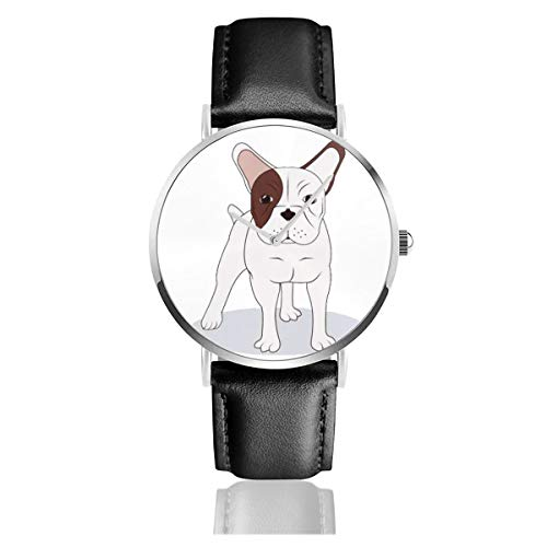 Business Analog Watches,Dog Concept with French Bulldog Icon, 10 Eps Graphic. Classic Stainless Steel Quartz Waterproof Wrist Watch with Leather Strap