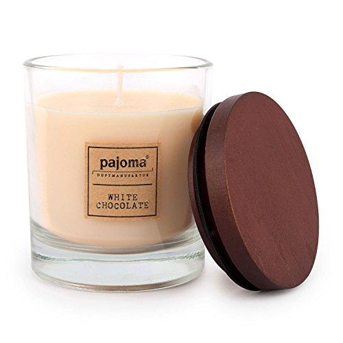 pajoma Duftkerze White Chocolate, 180 g, im Glas mit Holzdeckel, NEU Premium Edition, für Circa 25 Stunden