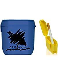 Cendriers de poche ASHTRAY disponible en différentes couleurs Brevetée fait en Italie résistant aux températures élevées (Blue-Black)