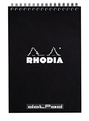 Rhodia 165039C Notizblock (mit Doppelspirale, DIN A5, Dot Lineatur, 80 g, 14,8 x 21 cm, 80 Blatt) 1 Stück schwarz