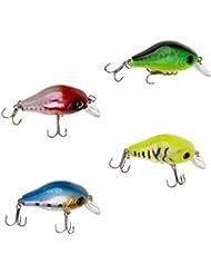 Gazechimp 4pcs Cebo Wobbler Minnow Ojos 3D Gancho Agudo Plástico Ligero Pesca Pescador Regalo