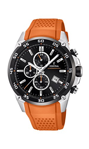 Festina Unisex Erwachsene Chronograph Quarz Uhr mit Leder Armband F20330/4 - Festina Uhren