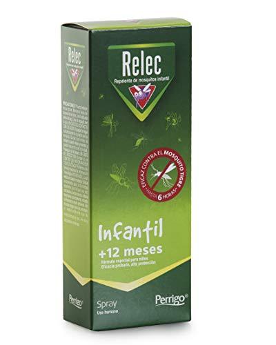 Relec Infantil Spray Eficaz Antimosquitos. Sin Alcohol. Dermatológicamente Testado. Pieles Sensibles. Bebés +12 meses. Repelente Mosquitos -  100 ml