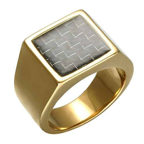 JIUJIUYITECH Carbon Steel Square Ring, Titan Stahl Square Gold Herrenring (Color : B, Größe : Us9#)