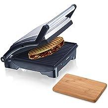 Melissa 3in1 Sandwich Maker 1500W aus Edelstahl Panini Grill antihaftbeschichtet Kontaktgrill inklusive Oramics Frühstücksbrett 22x14x0,8cm