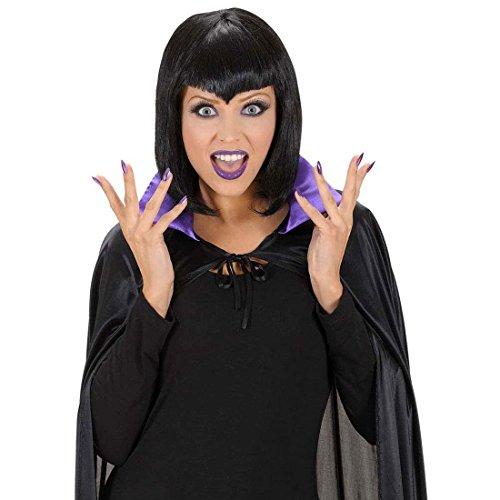 Schminke, Wimpern und Nägel lila Gothic Schminkset Fasching Make Up Hexenkostüm Zubehör Horror Kostüm Accessoires (Gothic Make-up Für Halloween)