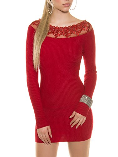 Schickes Rippstrick-Minikleid mit edlem Häkelspitzen-Ausschnitt Rot
