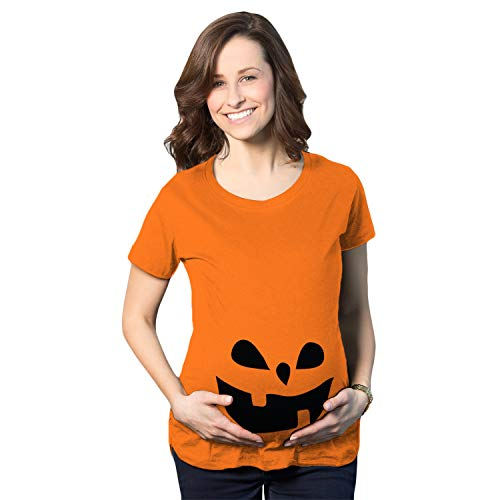 Kostüm Tochter Mutter Beängstigend - Crazy Dog Tshirts - Maternity Teardrop Eyes Pumpkin Face Halloween Pregnancy Announcement T Shirt (Orange) - 3XL - Damen - 3XL