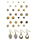 """SIX """"Basic"""" Set aus 16 Paar goldenen Ohrringen, Perlen, Knoten, Strass, antik (429-509)"""