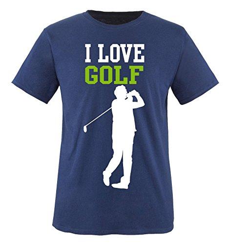 I LOVE GOLF - Herren T-Shirt - Navy / Weiss-Grün Gr. XL (Freiheit-golf-shirt)
