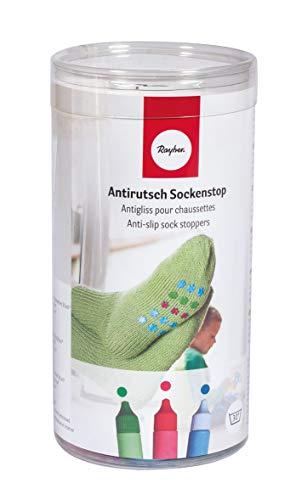 Rayher Hobby 38845000 Set antirutsch Sockenstop rot, blau, grün, inkl. Schablone und Rakel