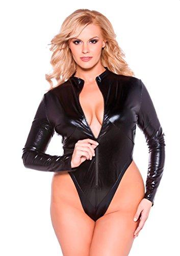 Allure Kitten Body in schwarz Größe XL/XXL - Chanel Schwarz Leder